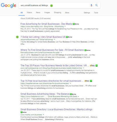 very small-business ad listings help search results